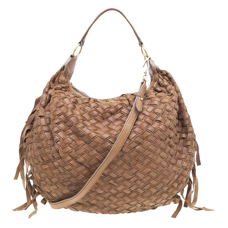 Buy Miu Miu Brown Woven leather Fringe Hobo 51173 at best price   TLC d1abcc9cea