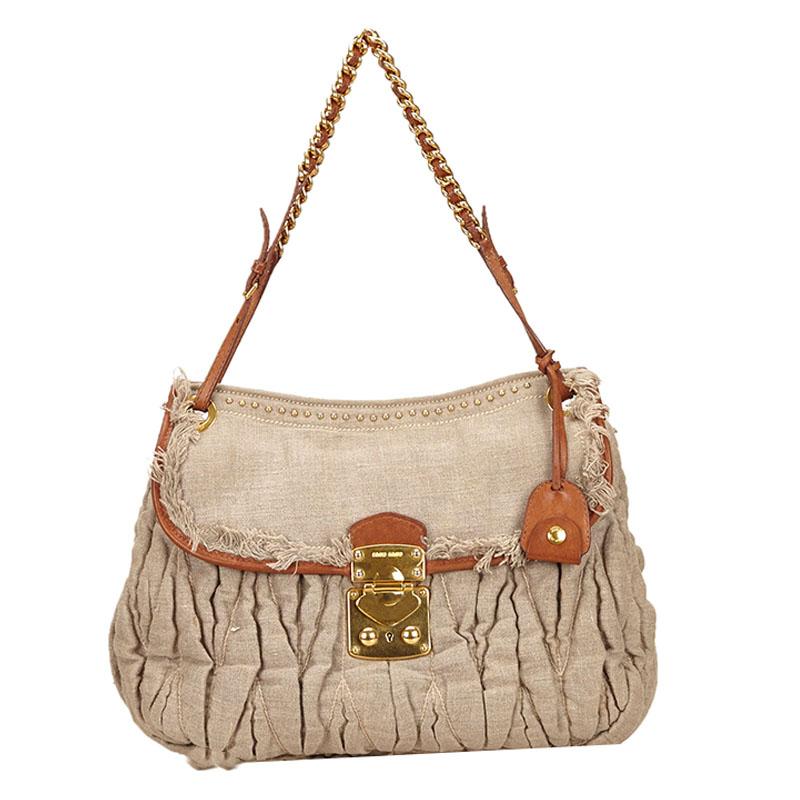 a213894b7c7 Buy Miu Miu Gathered Hemp Shoulder Bag 66710 at best price   TLC