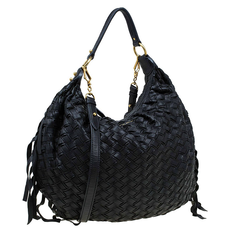 Buy Miu Miu Black Woven Leather Fringe Hobo 74592 at best price   TLC d5bc309a0b