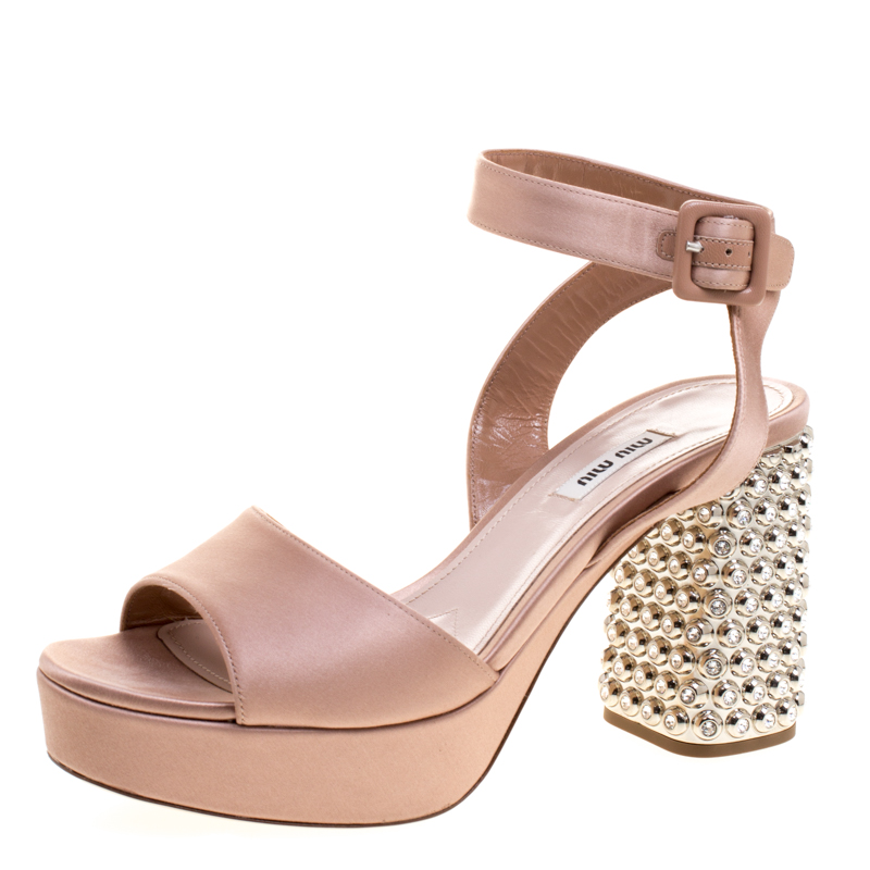 5ab8fa46cea Buy Miu Miu Blush Pink Satin Crystal Embellished Block Heel Ankle ...
