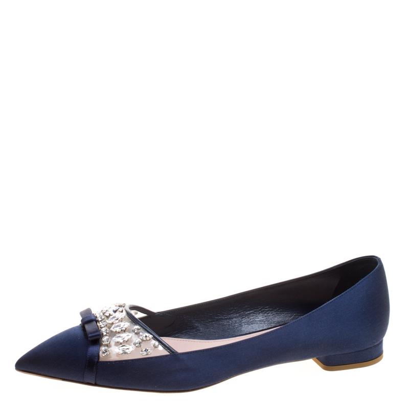13a64deac Buy Miu Miu Blue Satin Jeweled Pointed Toe Ballet Flats Size 40.5 ...