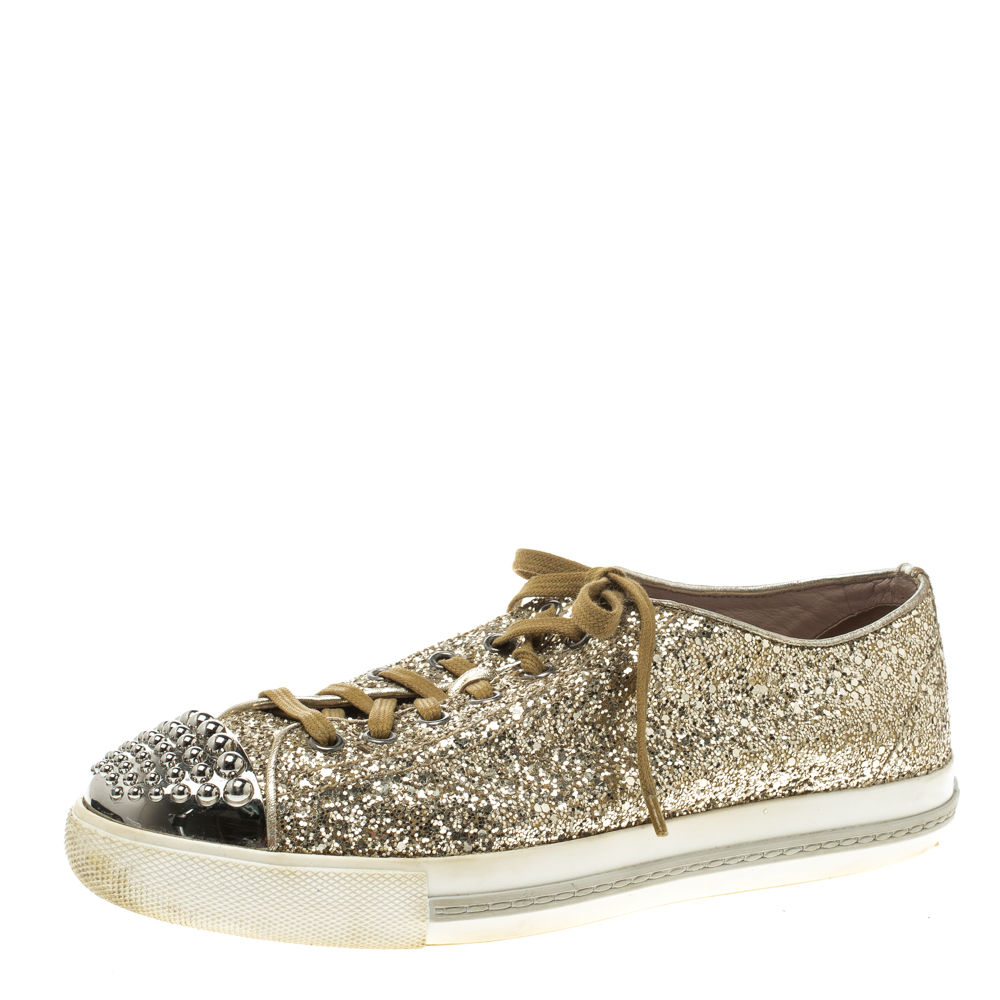 6bcced526bb Buy Miu Miu Metallic Gold Glitter Studded Cap Toe Lace Up Sneakers ...