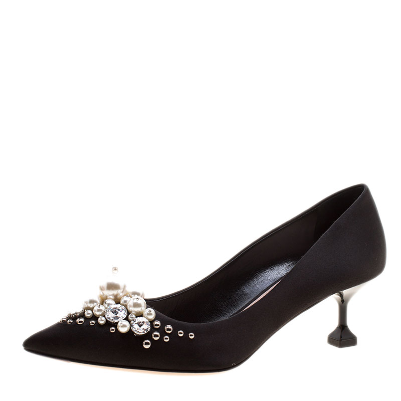 c4f02e70d8 ... Miu Miu Black Satin Crystal and Pearl Embellished Pointed Toe Pumps  Size 36. nextprev. prevnext