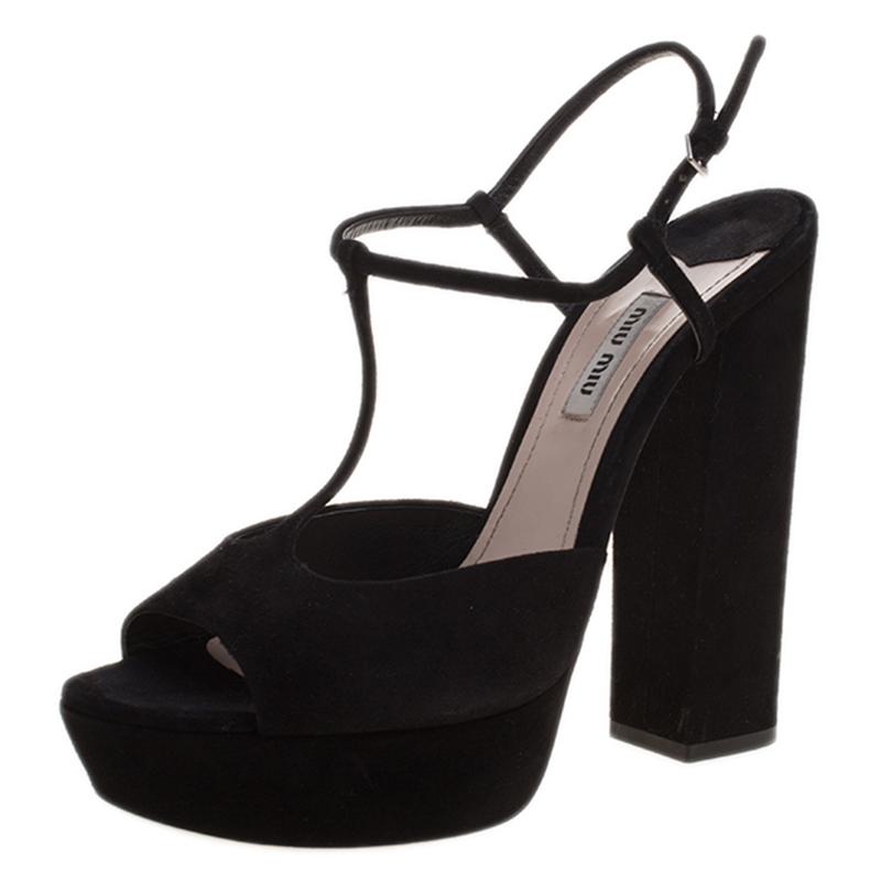 33e477a2e9a ... Black Suede T Bar Platform Block Heel Sandals Size 40. nextprev.  prevnext