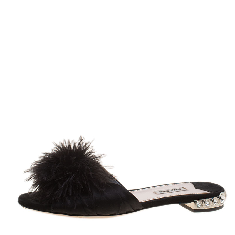 cd4617ee9ca3f Buy Miu Miu Black Satin with Ostrich Feathers Crystal Embellished ...