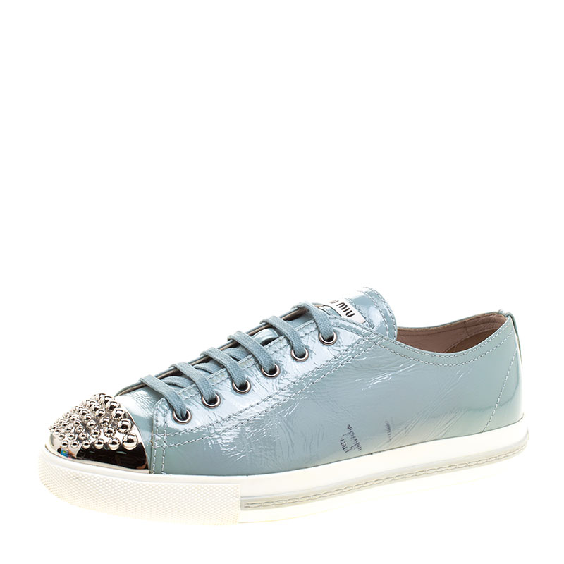 188acbe29b10d ... Miu Miu Teal Patent Leather Studded Metal Cap Toe Lace Up Sneakers Size  40. nextprev. prevnext