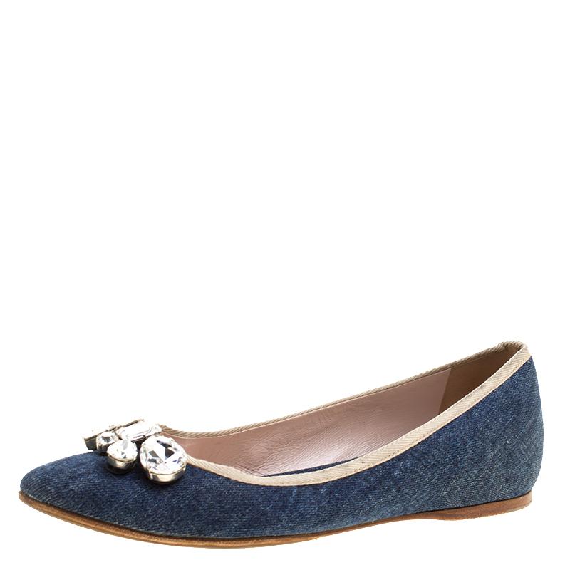 90973bb81c0 Buy Miu Miu Blue Denim Crystal Embellished Ballet Flats Size 39 ...