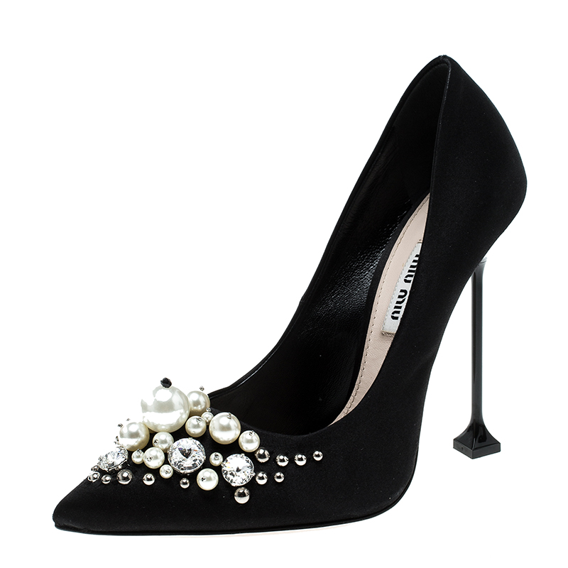 bb76bbc26a ... Miu Miu Black Satin Crystal and Pearl Embellished Pointed Toe Pumps  Size 37. nextprev. prevnext