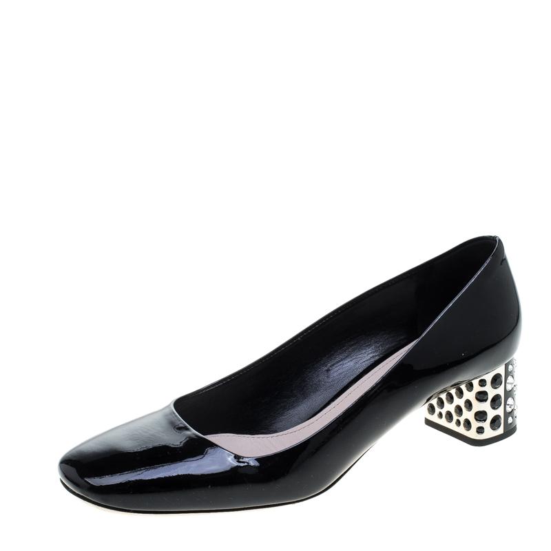 8754598d3f7 Buy Miu Miu Black Patent Leather Crystal Embellished Block Heel ...
