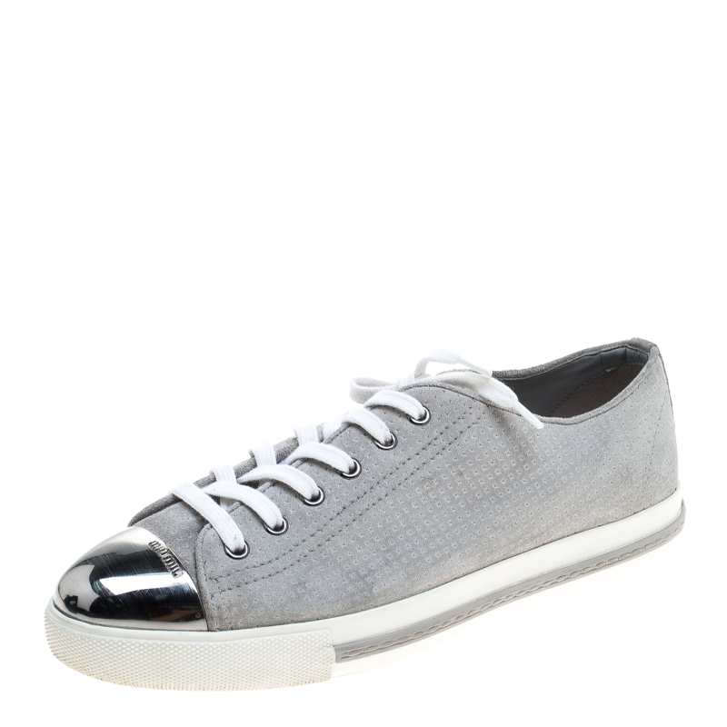 2354b92a1c5a Buy Miu Miu Grey Suede Cap Toe Sneakers Size 40 144748 at best price ...