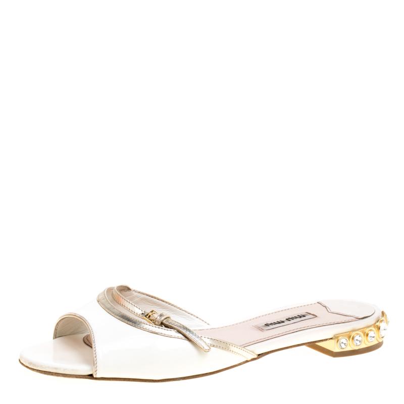3d3913610 Buy Miu Miu White Patent Leather Peep Toe Crystal Embellished Heel ...
