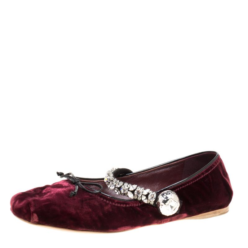 59cd1b956676 Buy Miu Miu Bordeaux Velvet Crystal Embellished Strap Ballet Flats ...