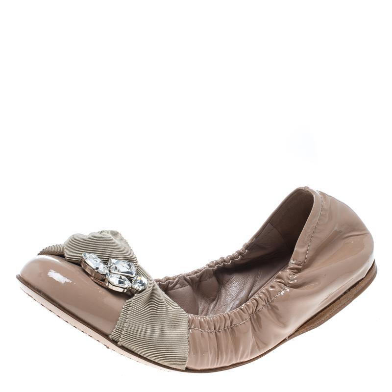 386838a675e ... Miu Miu Beige Patent Leather Crystal Embellished Scrunch Ballet Flats  Size 37. nextprev. prevnext