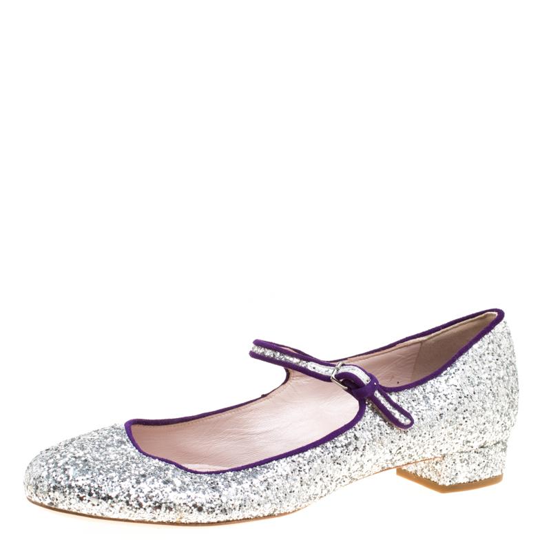cfb1efa93ec Miu Miu Silver Glitter Mary Jane Ballet Flats Size 39