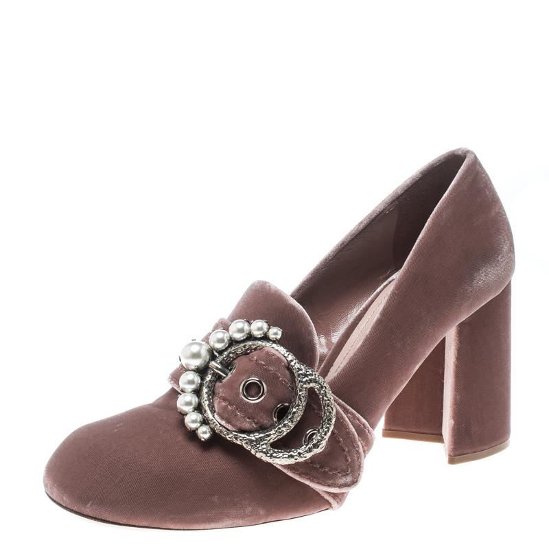 bbae3a9767e Buy Miu Miu Pale Pink Velvet Pearl Embellished Buckle Block Heel ...