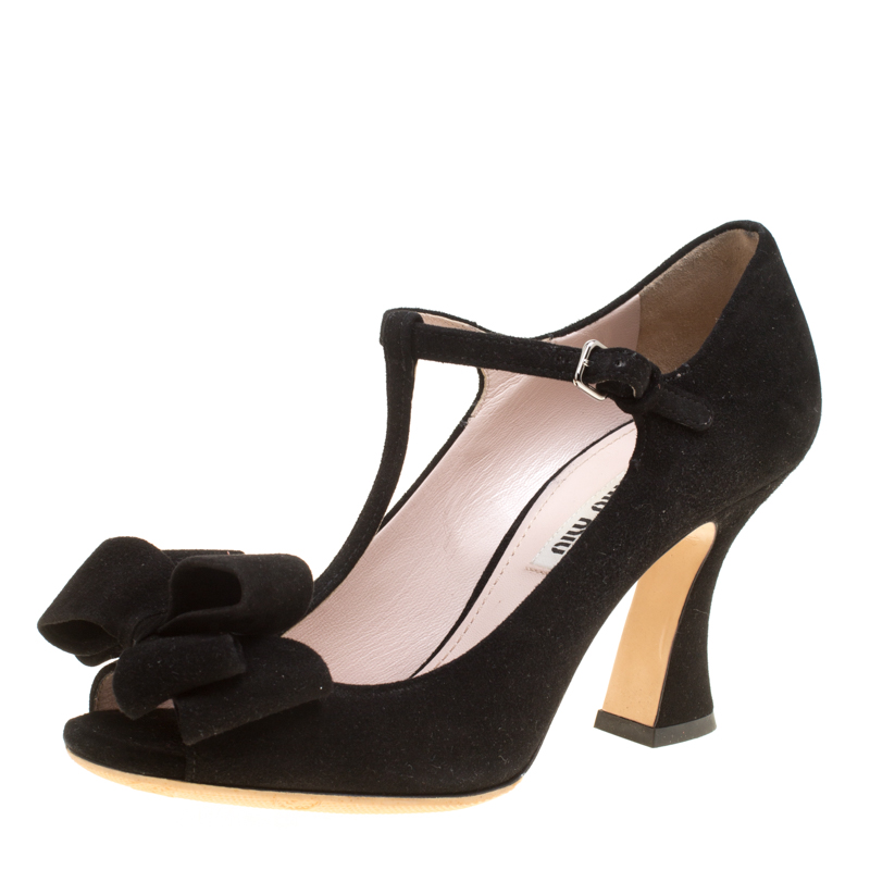 bd02a3a057a Buy Miu Miu Black Suede Mary Jane Bow T Strap Pumps Size 35.5 158220 ...