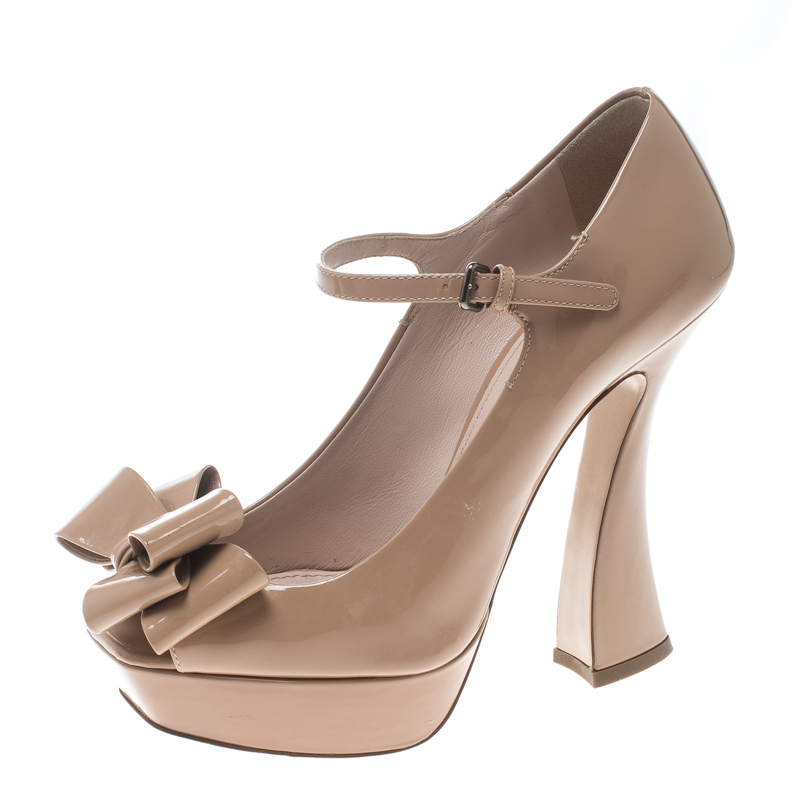 be762cfccf3 Buy Miu Miu Beige Patent Leather Bow Peep Toe Platform Pumps Size 37 ...