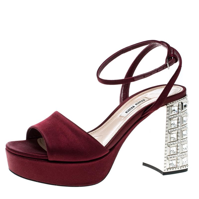 cute cheap cheaper temperament shoes Miu Miu Burgundy Satin Crystal Embellished Block Heel Ankle Strap Sandals  Size 36