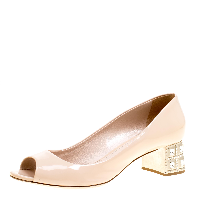9f35f59044 ... Miu Miu Beige Patent Leather Crystal Embellished Block Heel Peep Toe  Pumps Size 40. nextprev. prevnext