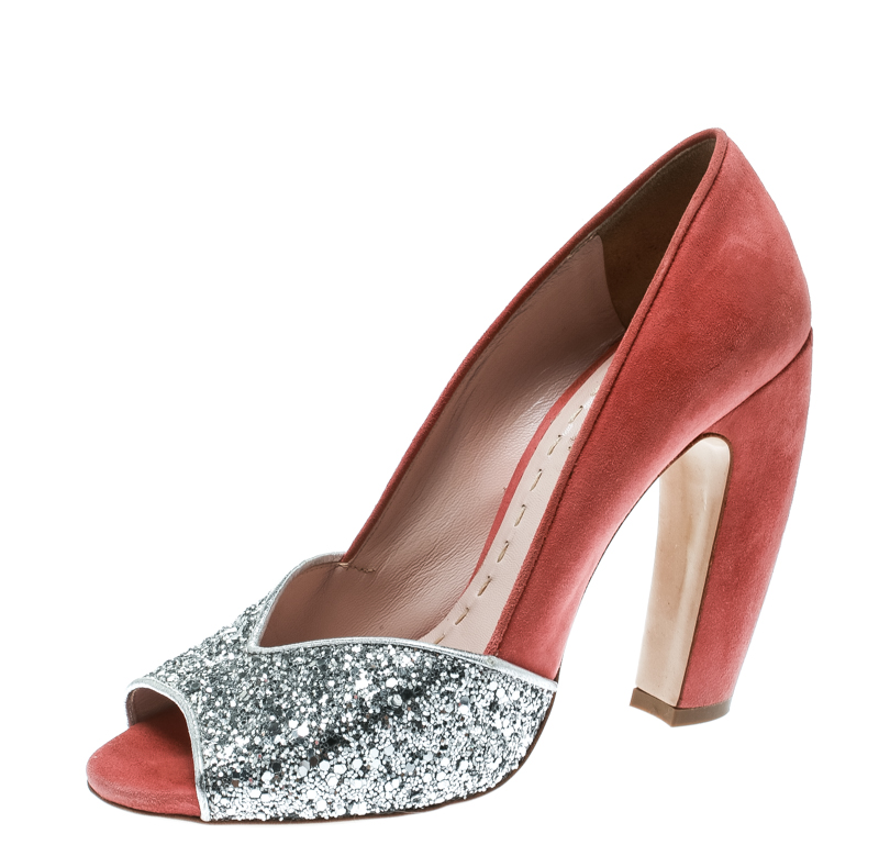 dd42a1031581 ... Miu Miu Silver Pink Coarse Glitter and Suede Peep Toe Pumps Size 38.  nextprev. prevnext