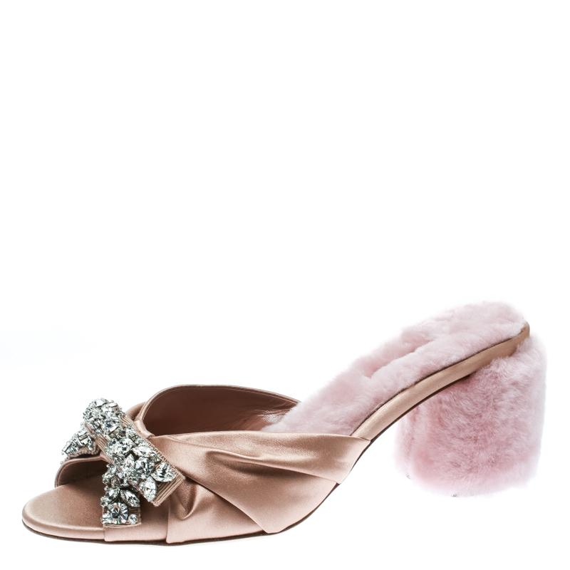 Miu Miu Pink Satin and Fur Bow Crystal Embellished Detail Slide Sandals Size 38