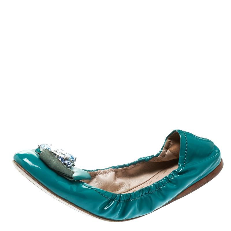 be650903d Buy Miu Miu Blue Patent Leather Jeweled Ballet Flats Size 40 177452 ...