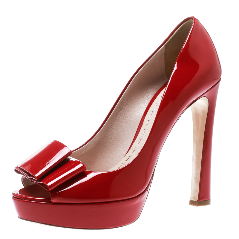 Miu Miu Red Patent Leather Peep Toe Bow Platform Pumps Size 40