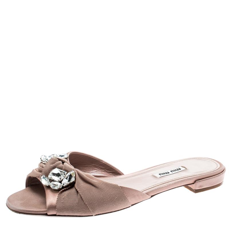 b8afd72a85 ... Miu Miu Beige Satin And Canvas Knot Crystal Embellished Slide Sandals  Size 39.5. nextprev. prevnext