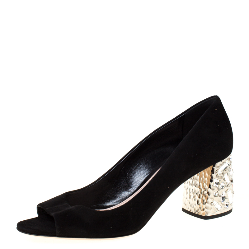 Miu Miu Black Suede Crystal Embellished Peep Toe Pumps Size 39