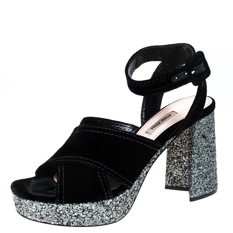Miu Miu Black Velvet And Glitter Heel Platform Ankle Strap Sandals Size 40