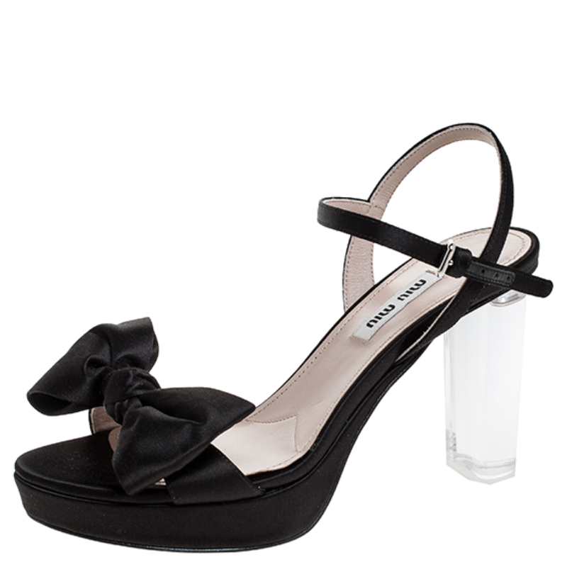Miu Miu Black Satin And Perspex Heel Bow Detail Platform Ankle Strap Sandals Size 35