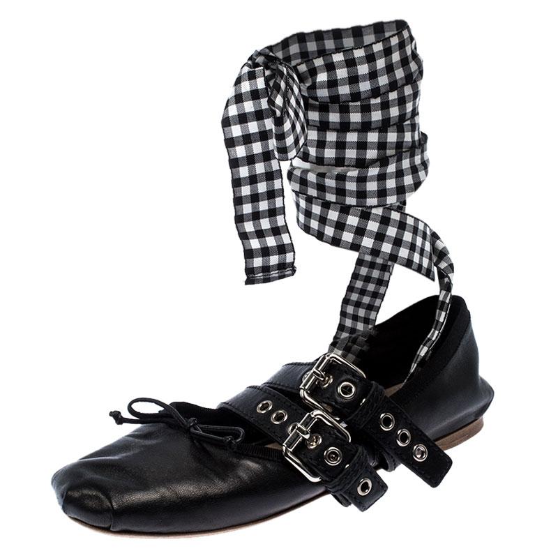 Miu Miu Black Belted Leather Ankle Wrap