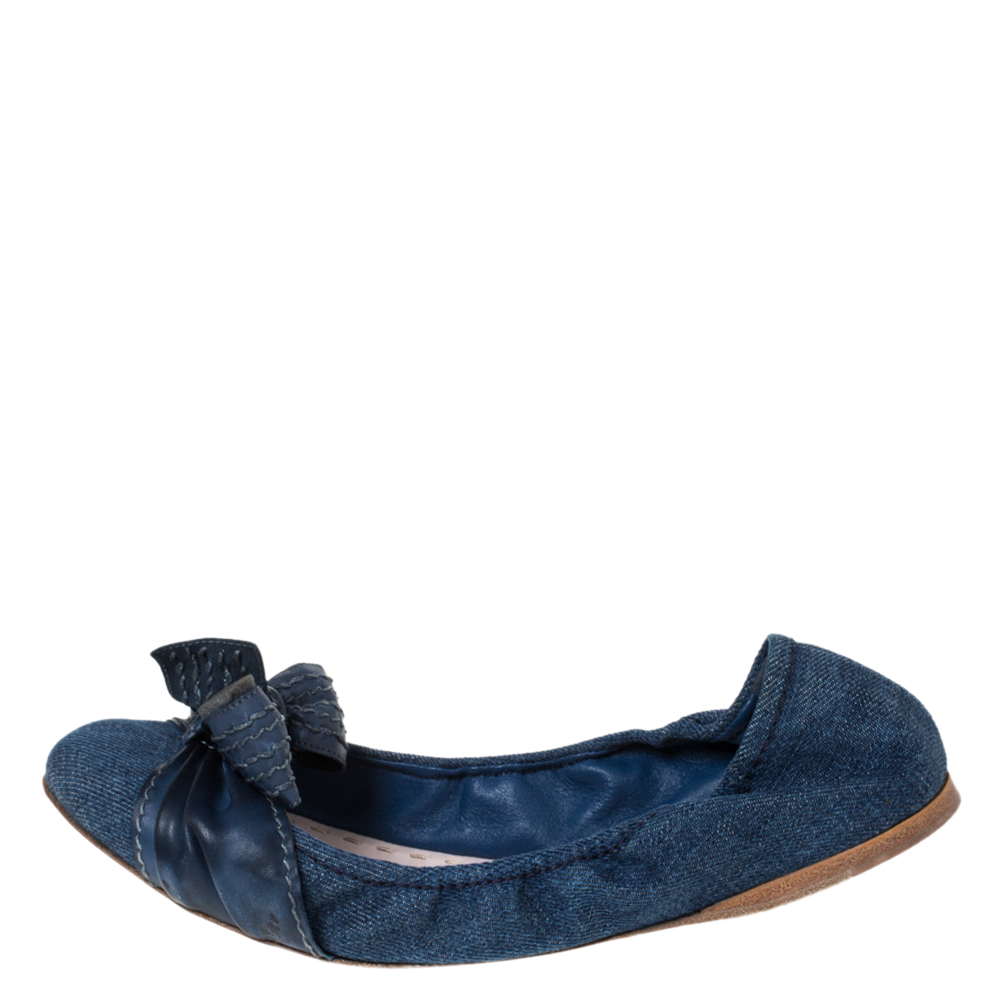 Miu Miu Blue Denim And Leather Bow Scrunch Ballet Flats Size