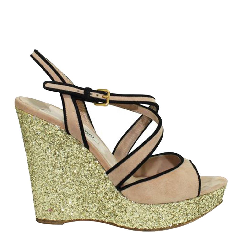 Pre-owned Miu Miu Beige Suede Glitter Wedge Sandals