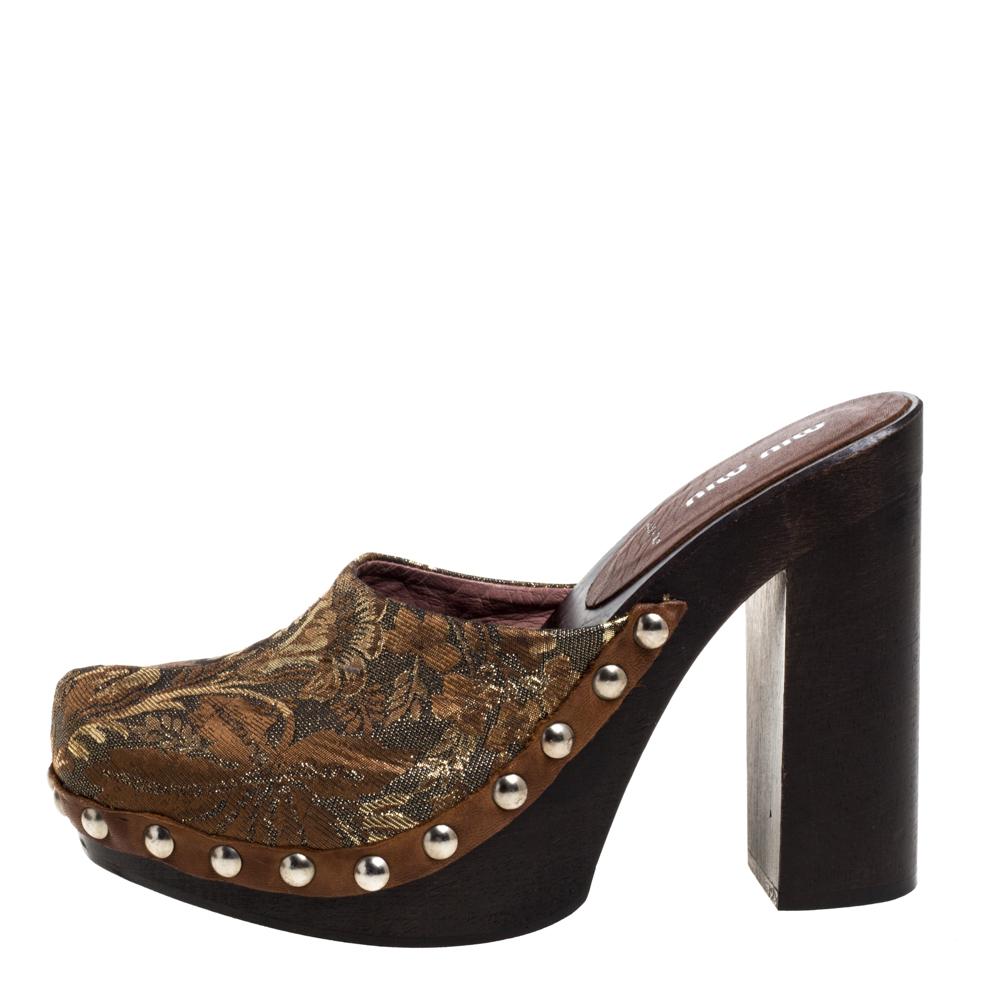 Miu Miu Brown/Gold Brocade Fabric Studded Platform Clogs Size 39.5