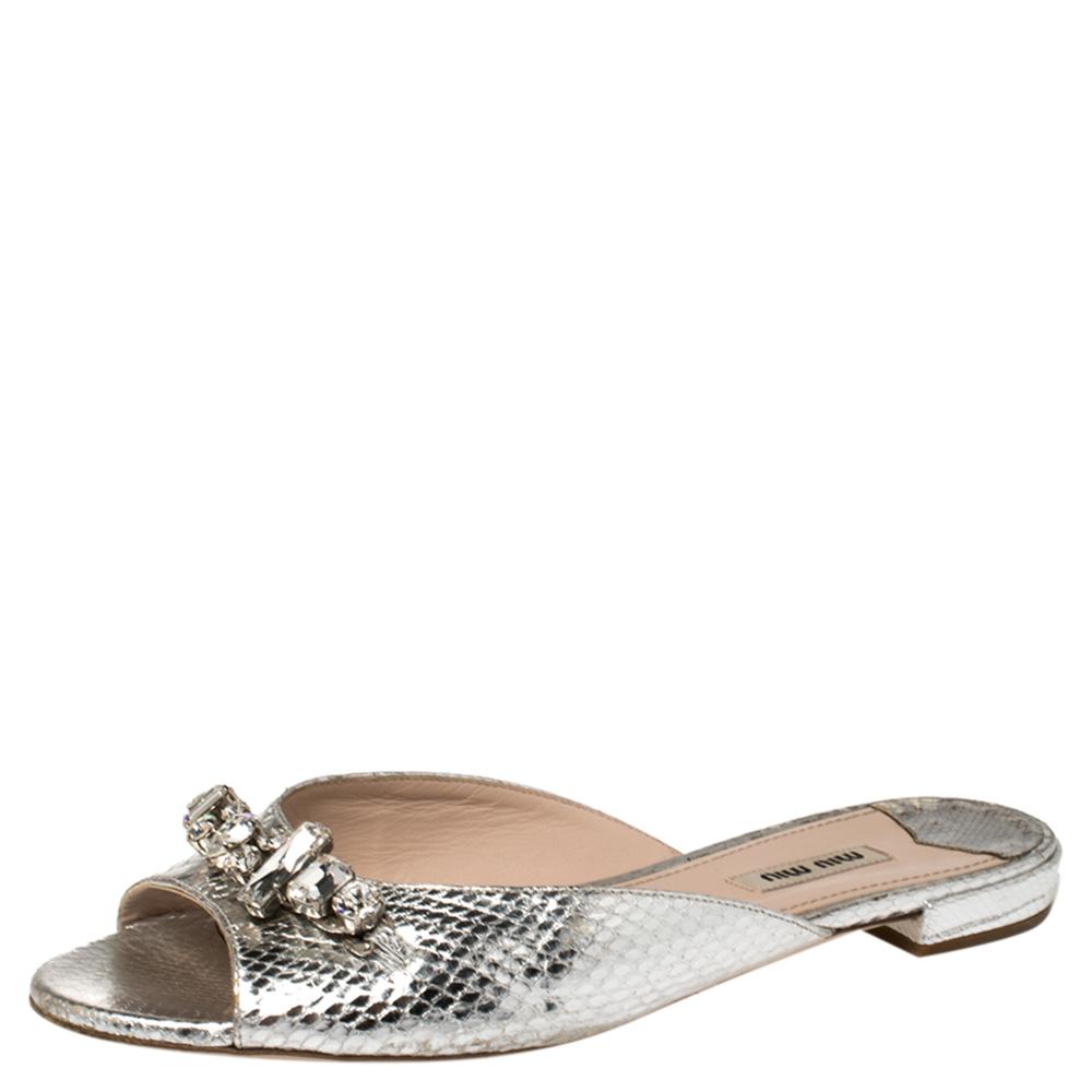 Pre-owned Miu Miu Metallic Silver Embossed Python Leather Crystal Embellished Flat Slides Size 39.5