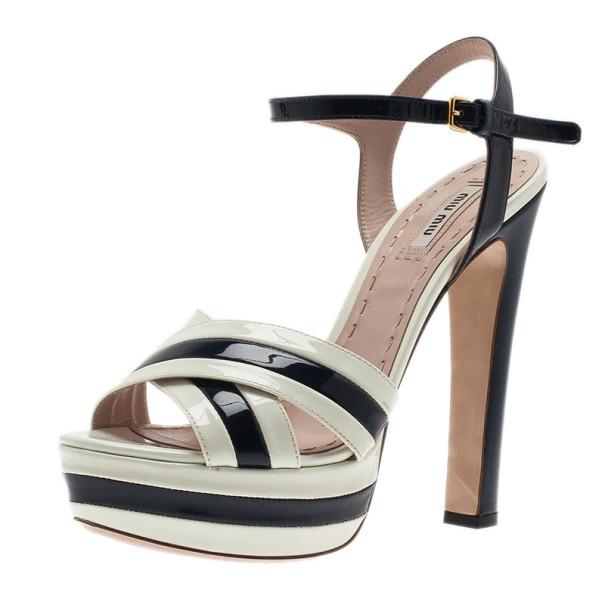 9126c9160 ... Miu Miu Black and White Patent Leather Platform Sandals Size 39.  nextprev. prevnext