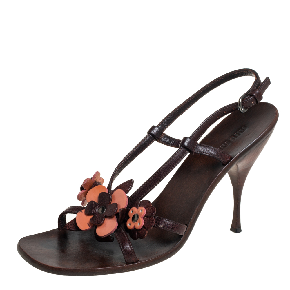 Pre-owned Miu Miu Brown Leather Floral Applique Slingback Sandals Size 39
