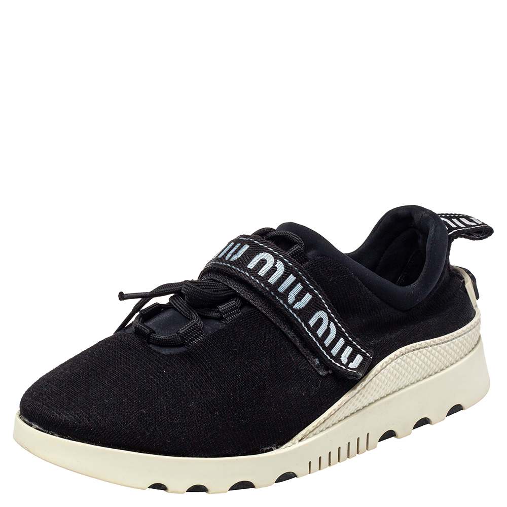 Pre-owned Miu Miu Black Cotton Knit Graphic Trim Sneakers Size 41