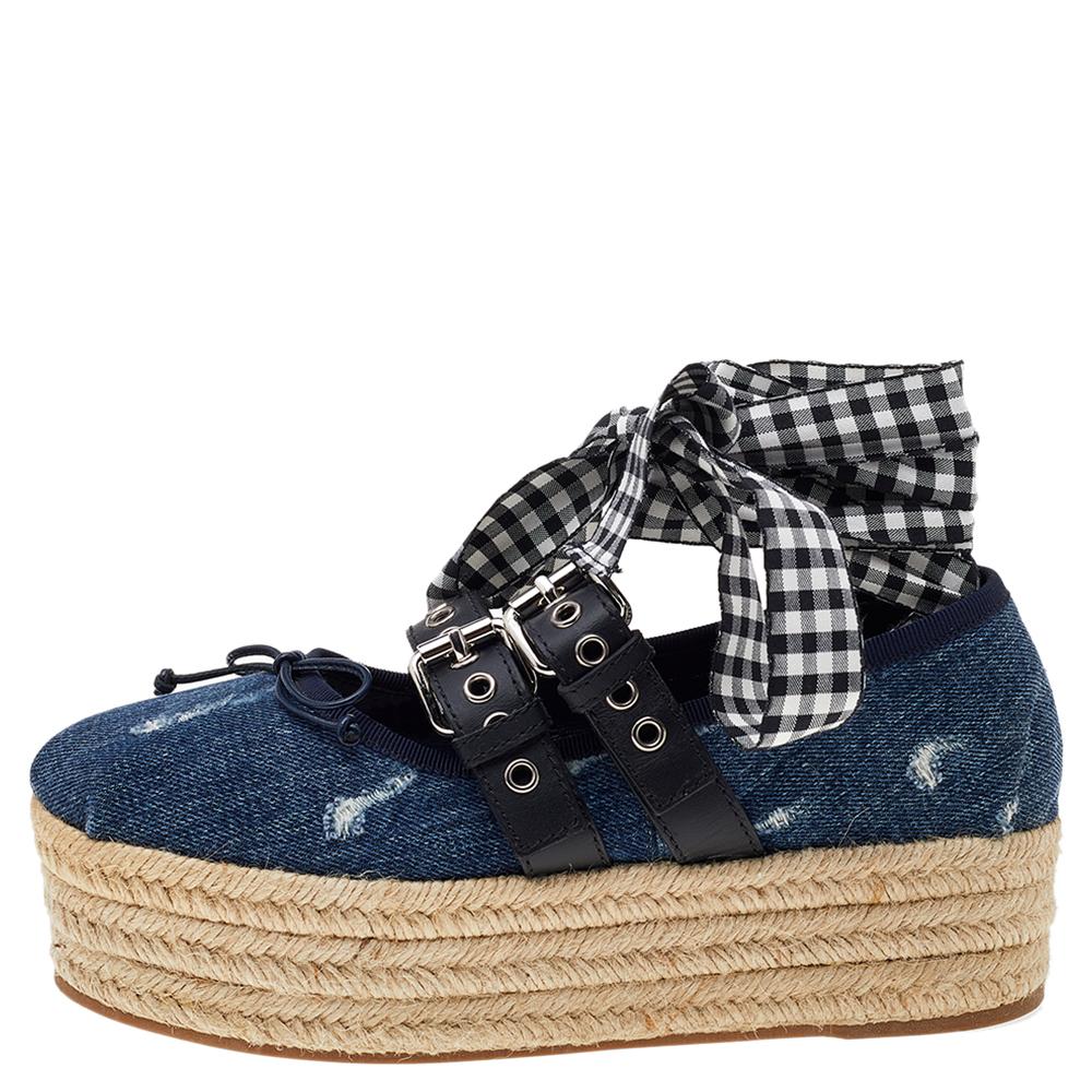 Miu Miu Blue Denim and Leather Lace Up Platform Wedge Espadrilles Size 38