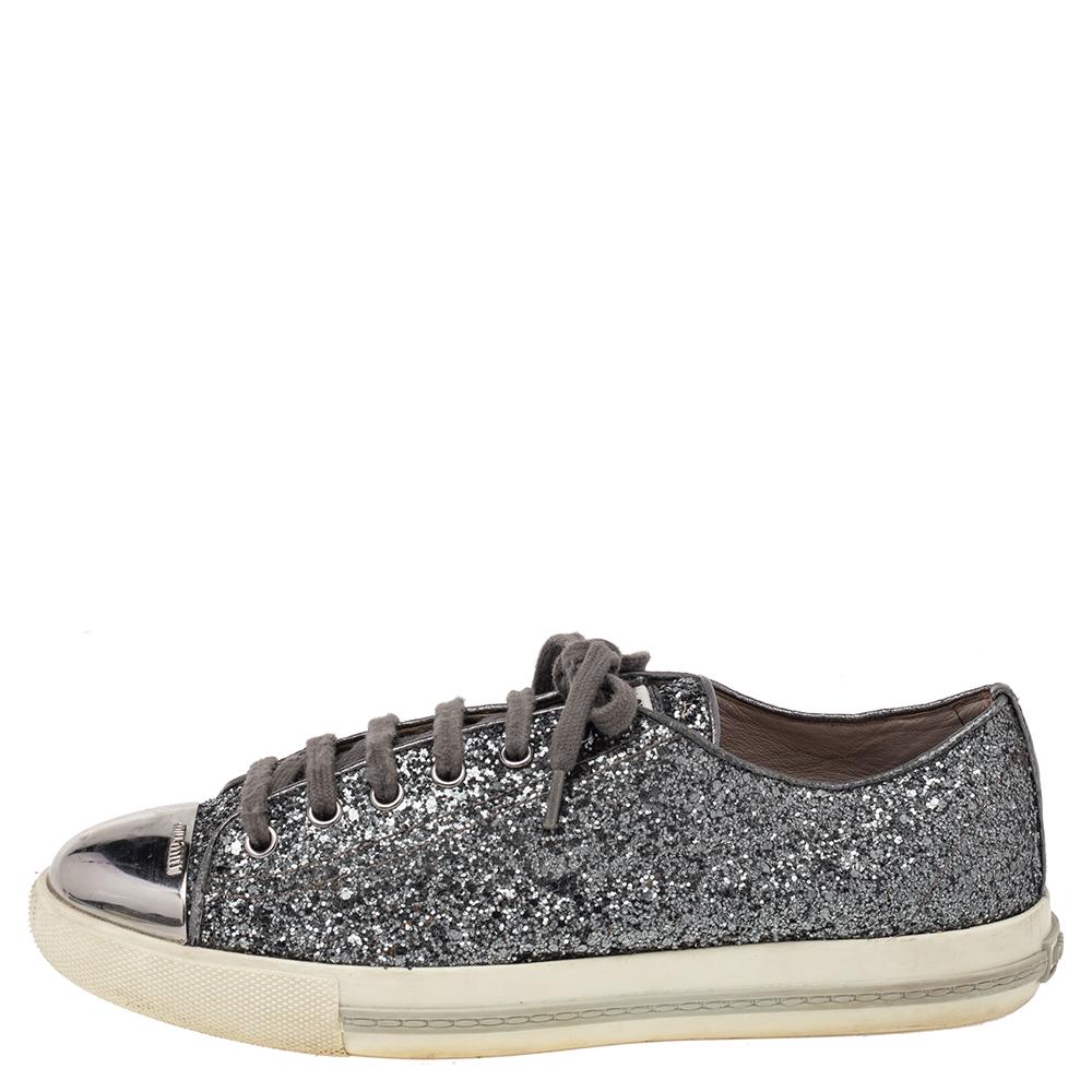 Miu Miu Metallic Grey Glitter And Metal Cap Toe Low Top Sneakers Size 39