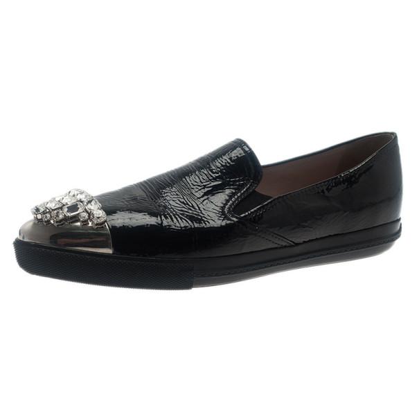 Miu Miu Black Leather Crystal Cap Toe Sneakers Size 42
