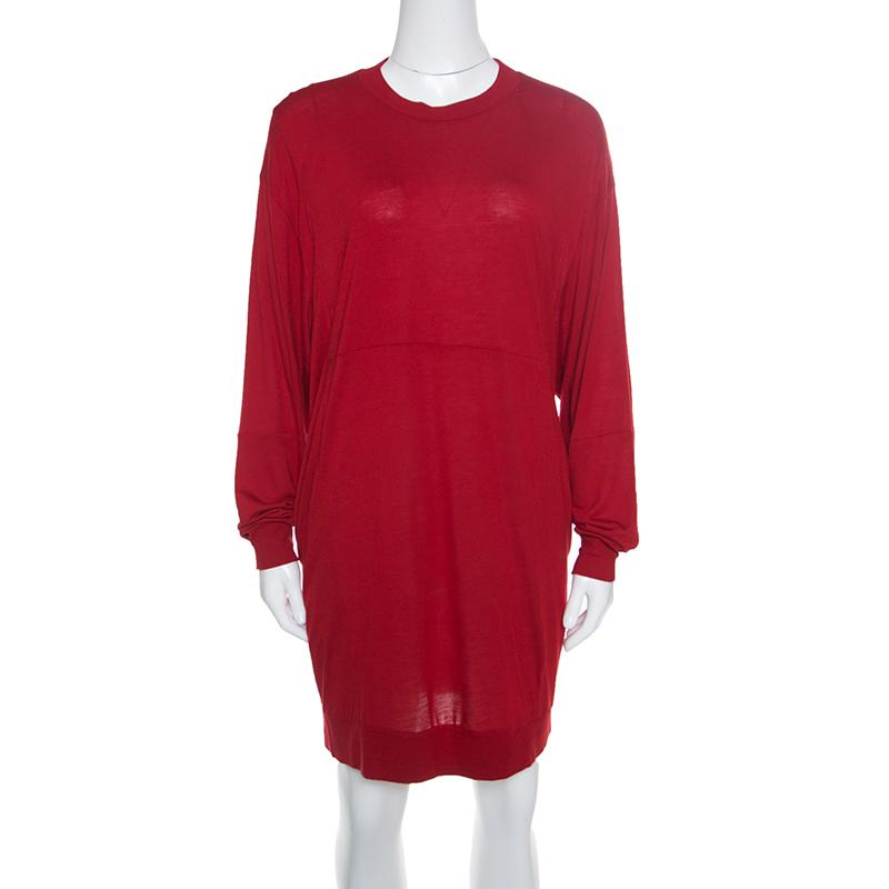 Купить со скидкой MM6 Maison Margiela Crimson Red Modal Jersey Oversized Dress XS