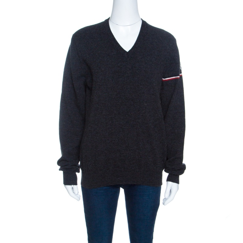 Фото #1: Moncler Grey Wool Stripe Detail Ribbed Trim V-Neck Sweater L
