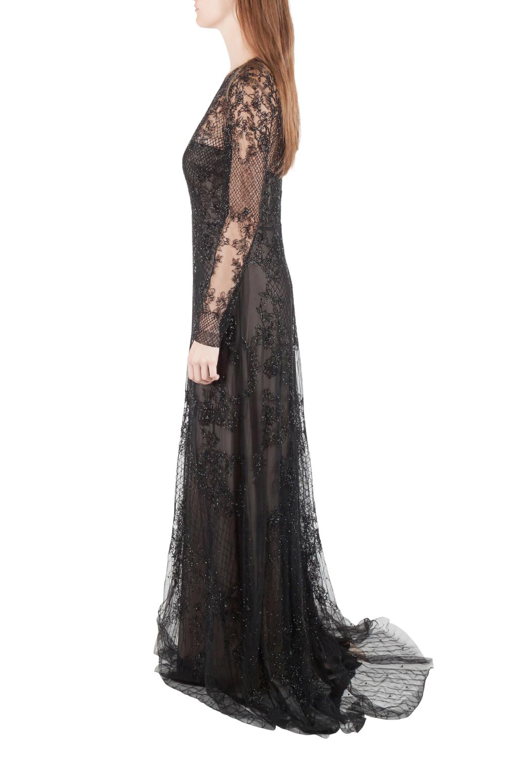 Monique Lhuillier Noir Black Embellished Long Sleeve Evening Gown