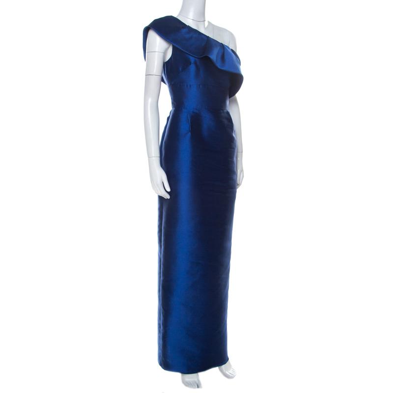 Monique Lhuillier Bleu Royal Satin À Volants, D'Une Épaule Robe De M