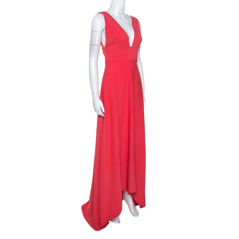 Monique Lhuillier Coral Pink Crepe High Low Hem Maxi Dress S