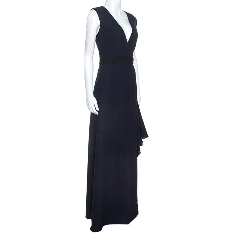 Monique Lhuillier Midnight Blue Crepe Sleeveless Dress L