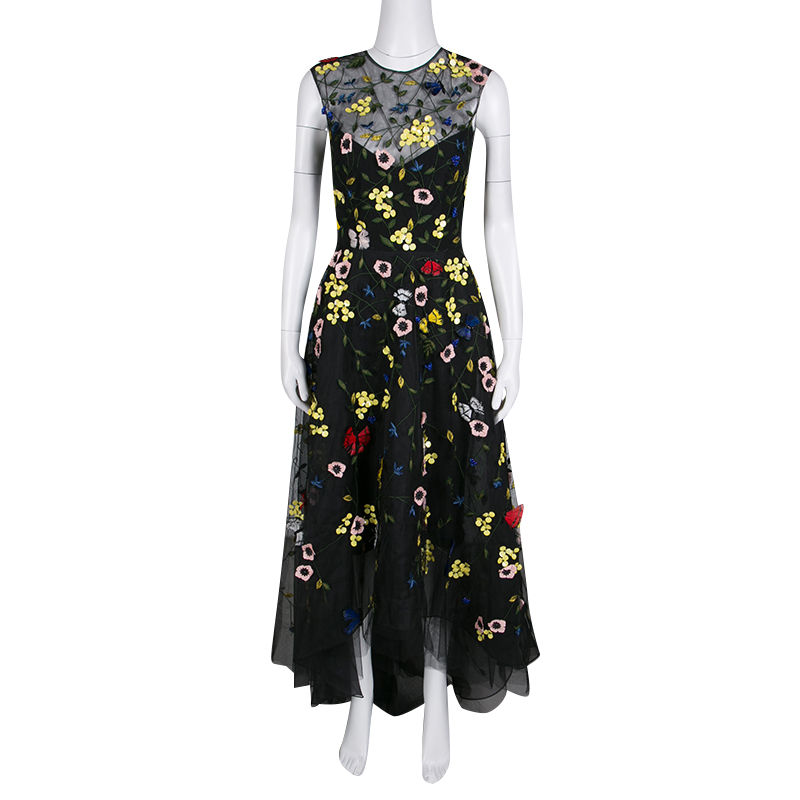 Monique Lhuillier Black Floral and Butterfly Applique High Low Tulle Gown