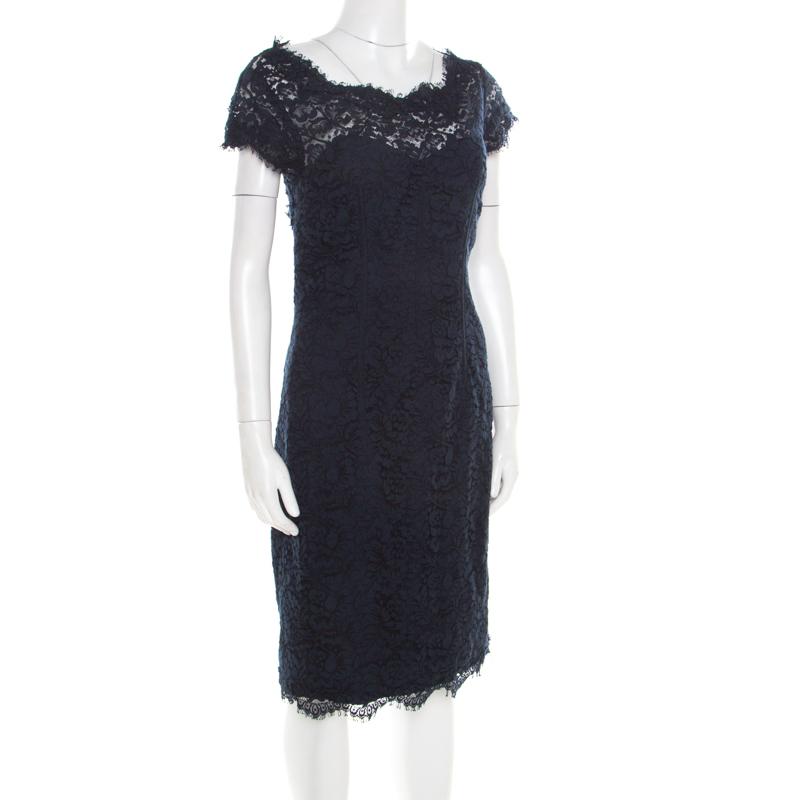 ML by Monique Lhuillier Navy Blue Lace Diamond Back Cap Sleeve Sheath Dress M